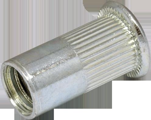 RFr-Гайка клепальная открытая рифлённая c плоской головкой
