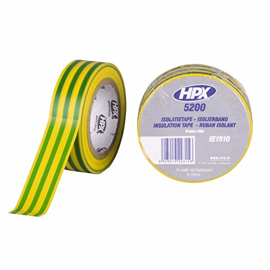 HPX Ізострічка ПВХ/5200/19*10м жовт/зел.IЕ1910
