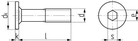 Винт мебельный с плоской головкой (Art. 3N534). Чертёж