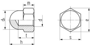 Гайка шестигранная колпачковая DIN 1587. Чертёж