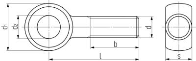 Болт откидной DIN 444. Чертёж