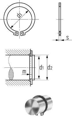 Кольцо упорное наружное для вала DIN 471 (аналог ГОСТ 13942-86). Чертёж
