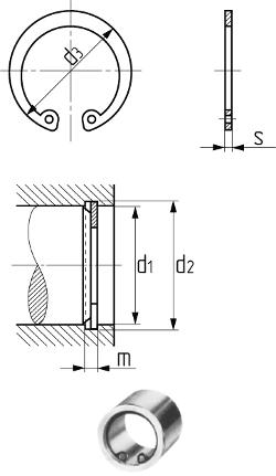 Кольцо упорное внутреннее для отверстия DIN 472 (аналог ГОСТ 13943-86). Чертёж