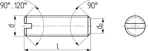 Винт установочный с прямым шлицем и коническим концом DIN 551 (ISO 4766, ГОСТ 1477-93). Чертёж