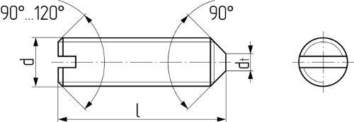 Винт установочный с прямым шлицем и коническим концом DIN 553 (DIN EN 27434, ISO 7434, ГОСТ 1476-93). Чертёж