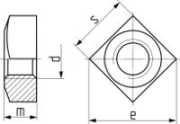 Гайка квадратная DIN 557, класс точности C. Чертёж