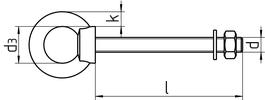 Болт с кольцом, аналог DIN 580. Чертёж