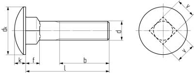 Болт мебельный с полукруглой головкой и квадратным подголовником DIN 603. Чертёж