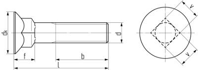 Болт с потайной головкой и низким квадратным подголовником DIN 608. Чертёж