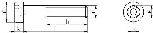 Винт с цилиндрической головкой уменьшенной высоты и внутренним шестигранником DIN 6912. Чертёж