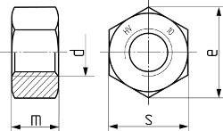 Гайка высокопрочная с увеличенным размером под ключ DIN 6915. Чертёж