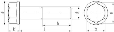 Болт с шестигранной головой и фланцем DIN 6921 (EN 1665, 14219). Чертёж