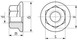 Гайка шестигранная с  фланцем DIN 6923. Чертёж