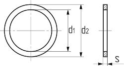 Кольцо уплотнительное медное DIN 7603A. Чертёж