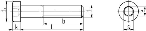 Винт с уменьшенной цилиндрической головкой с внутренним шестигранником DIN 7984 (ГОСТ 11738-84). Чертёж