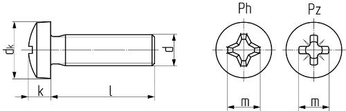 Винт с закругленной цилиндрической головкой с крестообразным шлицем DIN 7985 (ISO 7045, ГОСТ 17473-80). Чертёж