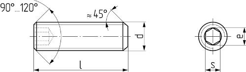 Винт установочный с внутренним шестигранником и плоским концом DIN 913 (EN ISO 4026, ГОСТ 11074-93). Чертёж