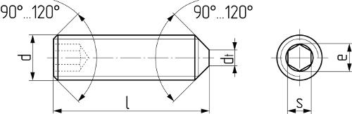 Винт установочный с внутренним шестигранником и коническим концом DIN 914 (EN ISO 4027, ГОСТ 8878-93). Чертёж