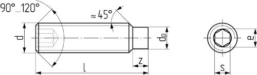Винт установочный с внутренним шестигранником и цилиндрическим концом DIN 915 (ISO 4028, ГОСТ 11075-93). Чертёж