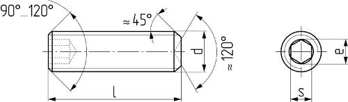 Винт установочный с внутренним шестигранником и засверленным концом DIN 916 (ISO 4029, ГОСТ 28964-91). Чертёж