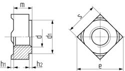 Гайка квадратная приварная DIN 928. Чертёж