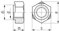Гайка шестигранная приварная DIN 929. Чертёж