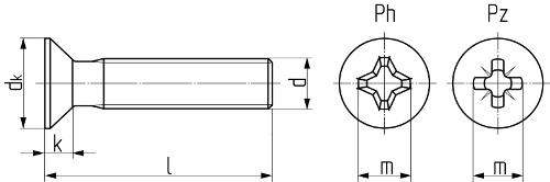 Винт с потайной головкой и крестообразным шлицем DIN 965 (ISO 7046-1, ГОСТ 17475-80). Чертёж