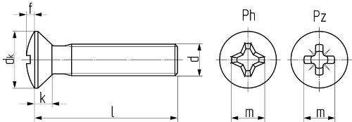 Винт с потайной головкой и крестообразным шлицем DIN 966 (ISO 7047, ГОСТ 17474-80). Чертёж