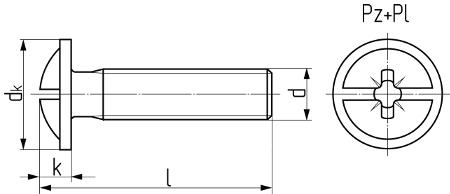 Винт с полукруглой головкой с буртиком и комбинированным шлицем (аналог DIN 967). Чертёж