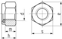 Гайка самостопорящаяся с пластиковым кольцом, высокая DIN 982. Чертёж