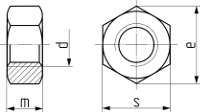 Гайка шестигранная ГОСТ 5915-70. Чертёж
