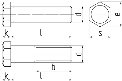 Болт с шестигранной уменьшенной головкой ГОСТ 7796-70. Чертёж
