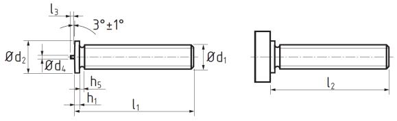Винт приварной омедненный DIN EN ISO 13918 тип PT. Чертёж
