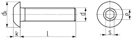 Винт с полукруглой головкой и внутренним шестигранником ISO 7380. Чертёж