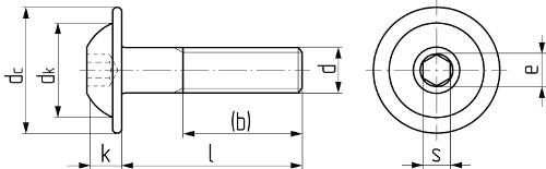Винт с полукруглой головкой с буртиком и внутренним шестигранником (аналог ISO 7380-2). Чертёж